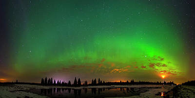 Poster featuring the photograph Aurora Over Pond Panorama by Dan Jurak