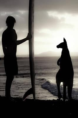 Aussie Surf Silhouettes Poster by Sean Davey