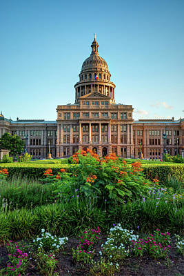 Austin Capitol Building With Flowers Poster