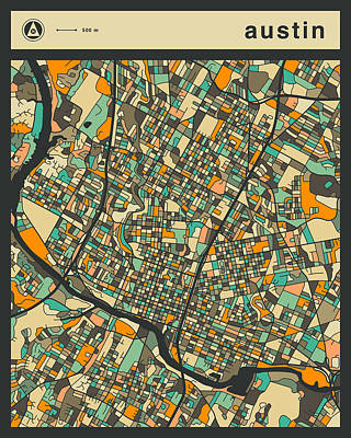 Austin City Map Poster by Jazzberry Blue