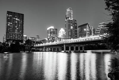 Austin City Skyline And Congress Bridge In Black And White Poster