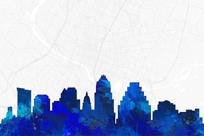 Austin Cityscape And Streetmap Blue Skyline Poster