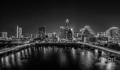 Austin Cityscape Black And White Poster by Tod and Cynthia Grubbs