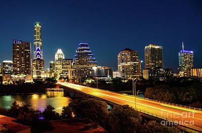 Austin Congress Bridge Night Poster by Tod and Cynthia Grubbs