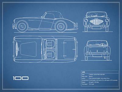 Car blueprint posters fine art america austin healey 100 blueprint poster malvernweather Gallery