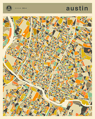 Austin Map 2  Poster by Jazzberry Blue
