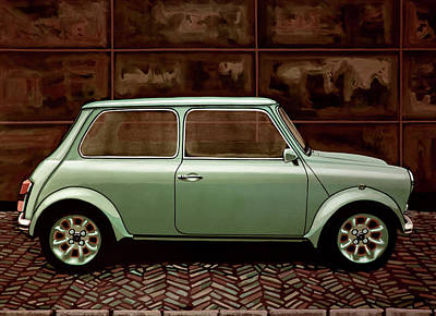 Austin Mini Cooper Mixed Media Poster