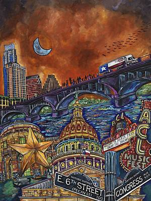 Poster featuring the painting Austin Montage by Patti Schermerhorn