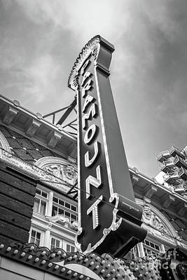 Austin Paramount Theatre Sign Black And White Photo Poster by Paul Velgos