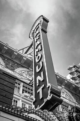 Austin Paramount Theatre Sign Black And White Photo Poster