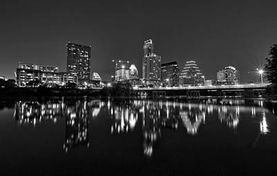 Austin Skyline At Night Black And White Poster by Todd Aaron