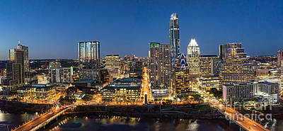 Austin Skyline At Night Poster by Tod and Cynthia Grubbs