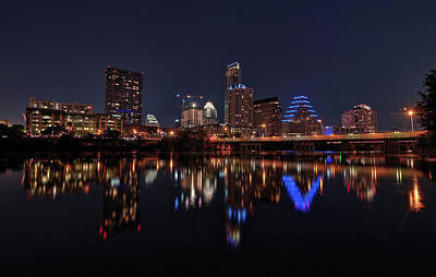 Austin Skyline At Night Poster