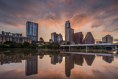 Austin Skyline Sunrise Reflection Poster