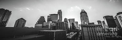 Austin Texas Black And White Panorama Poster