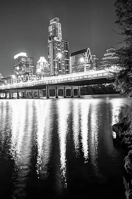 Austin Texas Black And White Skyline Night Reflections Poster