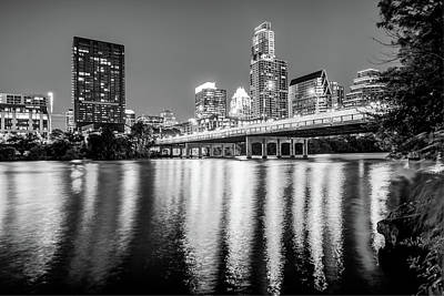 Austin Texas Downtown Skyline At Night On The Colorado River - Black And White Edition Poster