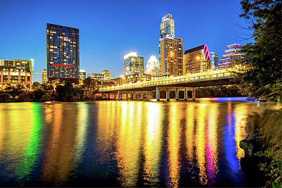 Austin Texas Downtown Skyline At Night On The Colorado River Poster