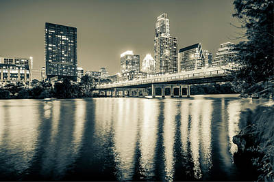 Austin Texas Downtown Skyline At Night On The Colorado River - Sepia Edition Poster