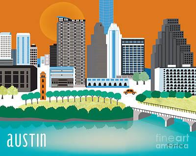 Austin Texas Horizontal City Art By Loose Petals Poster by Karen Young