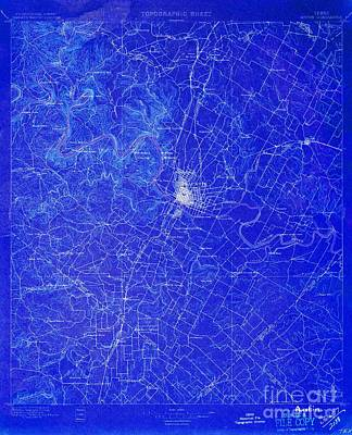 Austin Texas Old Map, Blue Background, White Lines Poster