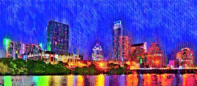 Austin Texas Skyline 100 - Pa Poster