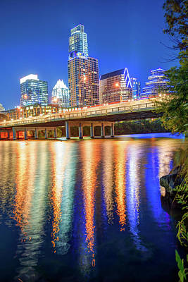 Austin Texas Skyline Night Reflections Poster