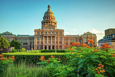 Austin Texas State Capitol Building And Flower Garden Poster