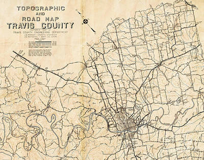 Austin Texas Vintage City Map Poster by ELITE IMAGE photography By Chad McDermott