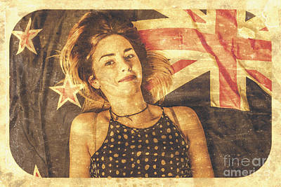 Australia Day Pinup Girl Postcard Poster by Jorgo Photography - Wall Art Gallery