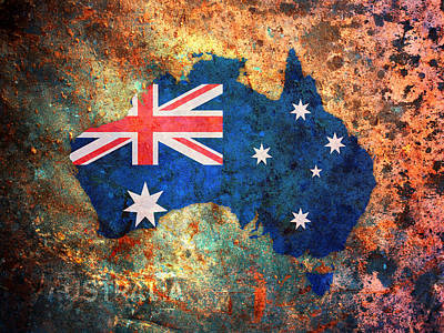Australia Flag Map Poster by Michael Tompsett