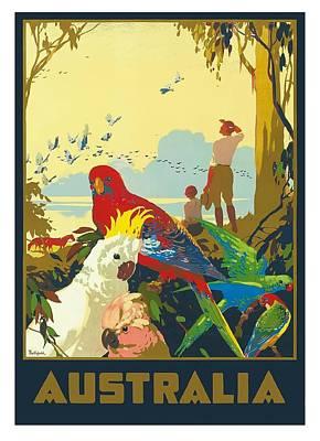 Australia National Travel  Vintage World Travel Poster Poster