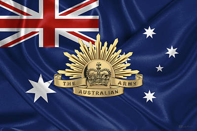 Australian Army Badge Over Australian Flag Poster by Serge Averbukh