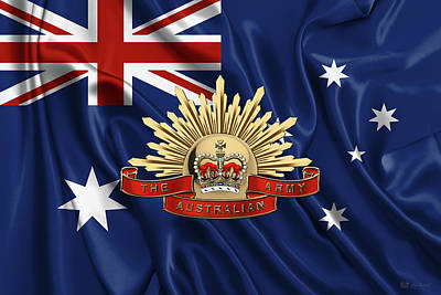 Australian Army Emblem Over Australian Flag Poster by Serge Averbukh