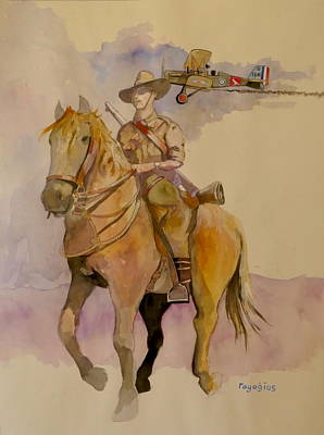 Poster featuring the painting Australian Light Horse Regiment. by Ray Agius
