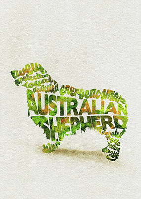 Australian Shepherd Dog Watercolor Painting / Typographic Art Poster