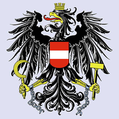 Poster featuring the drawing Austria Coat Of Arms by Movie Poster Prints