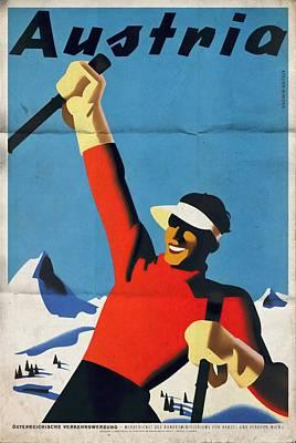 Austria Ski Tourism - Vintage Poster Folded Poster