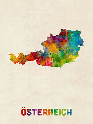 Austria Watercolor Map Poster by Michael Tompsett