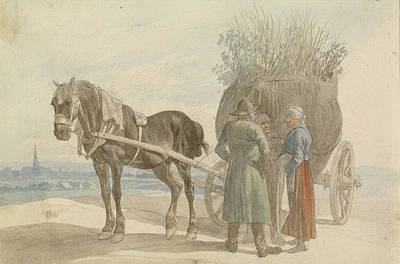 Austrian Peasants With A Horse And Cart Poster