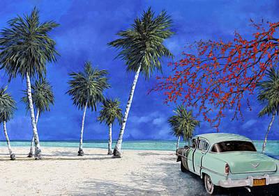 Auto Sulla Spiaggia Poster by Guido Borelli