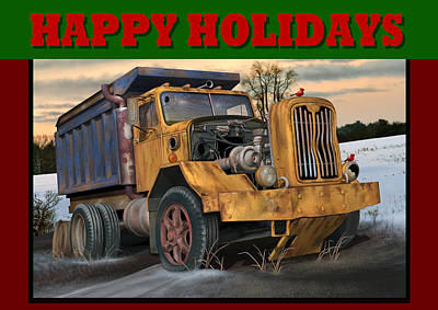 Poster featuring the digital art Autocar Happy Holidays by Stuart Swartz