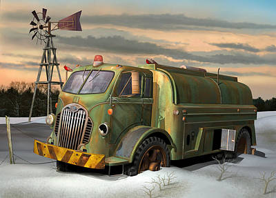Poster featuring the digital art Autocar Waterwagon by Stuart Swartz