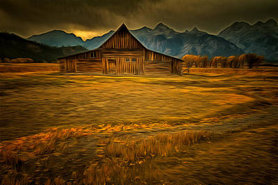 Autum At The Moulton Barn Poster by Mark Kiver