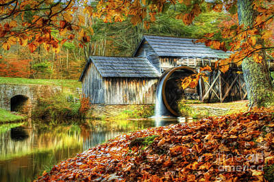 Autumn 2015 At Mabry Mill Poster by Darren Fisher