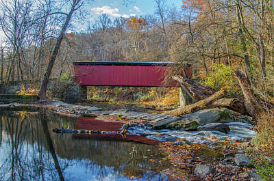 Autumn Along The Wissahickon Creek -thomas Mill Covered Bridge Poster by Bill Cannon
