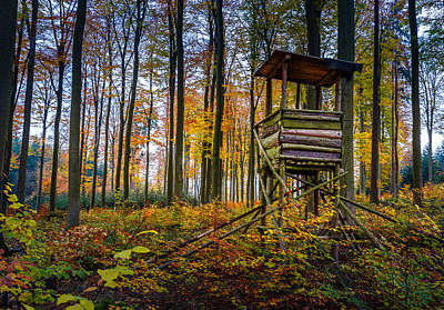 Autumn And Hunting Tower Poster by Mah FineArt