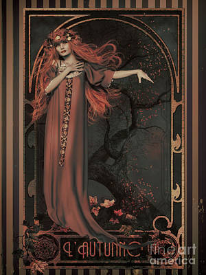 Poster featuring the digital art Autumn Art Nouveau  by Shanina Conway