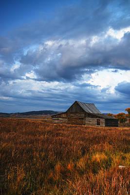 Autumn At Mormon Row Barn Grand Teton National Park Poster