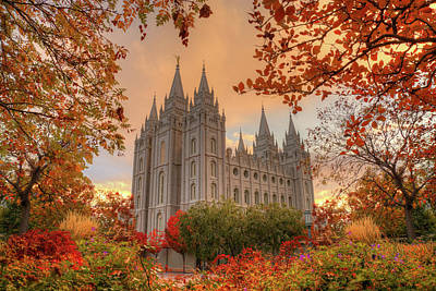 Autumn At Temple Square Poster